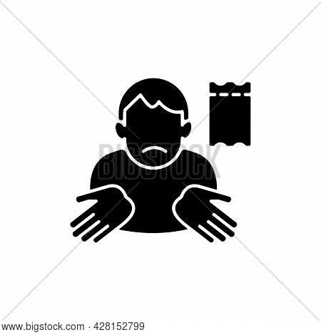 Winning Lottery Ticket Loss Black Glyph Icon. Unclaimed Lotto Prize. Protect Ticket From Damage. Ref