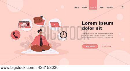 Cartoon Businessman Character Practicing Yoga Or Meditation. Flat Vector Illustration. Man Relaxing