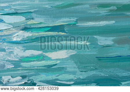 Abstract Oil Painting Blue Turquoise Sea. Summer Art Background. Natural Light Blue Wave Texture. Im