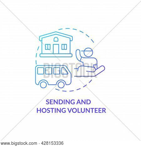 Sending And Hosting Volunteer Organisations Concept Icon. Humanitarian Aid For Victims. Personal Ass