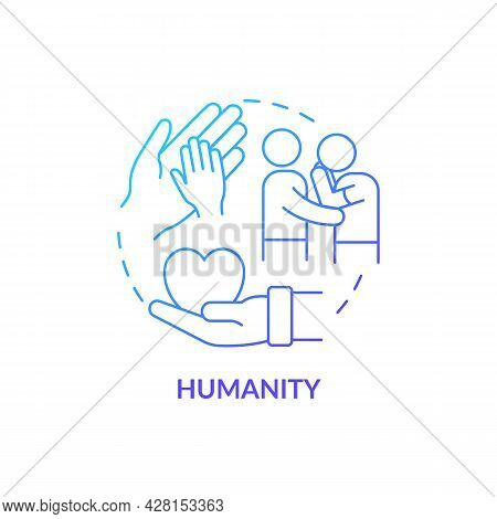 Humanity Against People Suffering Concept Icon. Humanitarian Aid Charachters. Empathy, Mercy And Com