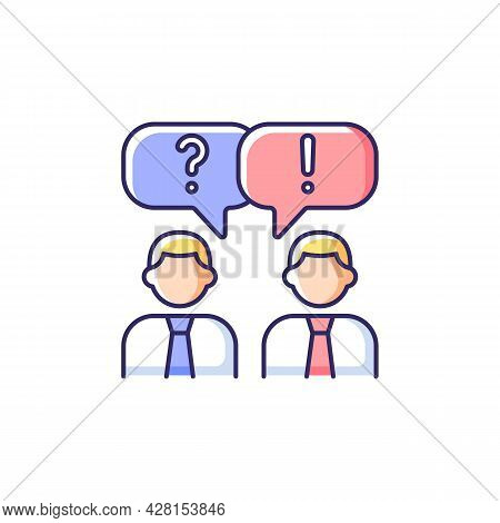 Communication Rgb Color Icon. People Talking. Verbal And Nonverbal Communication. Business Conversat