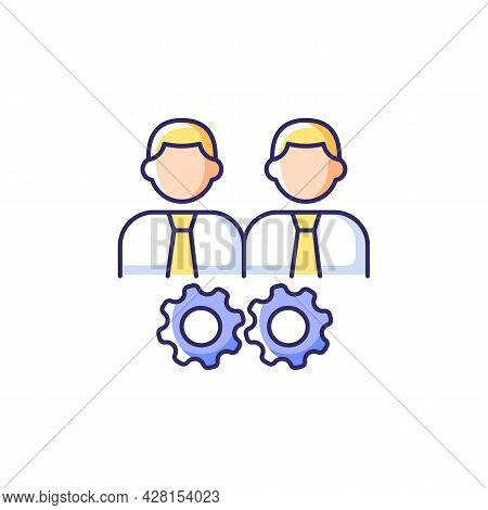 Collaboration Rgb Color Icon. Two Men And Gears. Achieve Goal Working Together. Group Members Intera
