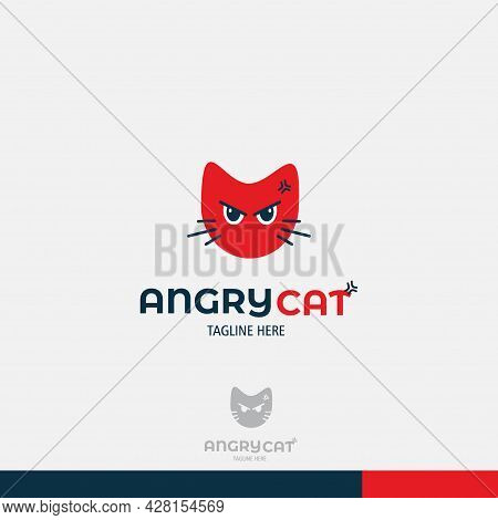 Angry Cat Animal Logo Concept Icon - Head Angry Cat Logo Icon Isolated On White - Red And Blue Anima