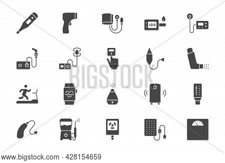 Personal Medical Devices Flat Icons. Vector Illustration Include Icon - Thermometer, Glucometer, Ins