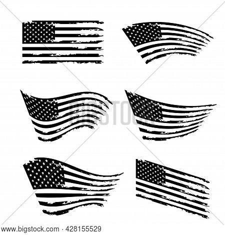 Wavy American Flag Set. Black And White Grunge Usa Flag. Isolated On White Background. Vector Illust