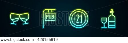 Set Line Glass Of Cognac Or Brandy, Street Signboard With Pub, Alcohol 21 Plus And Wine Bottle Glass