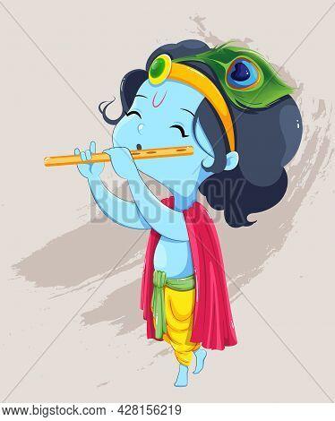 Happy Krishna Janmashtami Greeting Card. Lord Krishna Kid Paying Flute. Stock Vector On Light Backgr