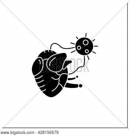 Heart Damage Glyph Icon. Covid Hearth Attack. Concept Of Corona Virus Cardio Health Effect And Infec