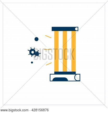 Uv Lamp Flat Icon. Antibacterial Light Uvc Sterilizer Linear Pictogram. Concept Of Plant Growing, Ai