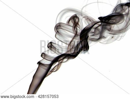 Macro Closeup Of Black Transparent Silky Smoke Floating With Elegant Soft Swirls Into The Air Isolat