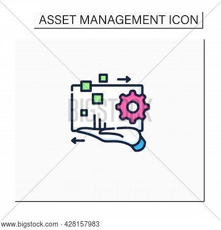 Digital Asset Management Color Icon. Electronic Media Content Management. Digital Accounts. Business