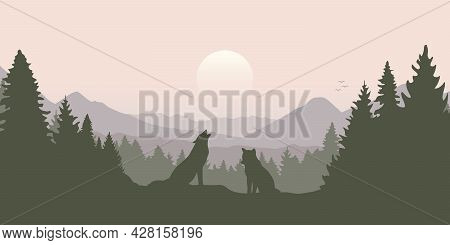 Wolf Pack In The Green Forest With Mountain Landscape