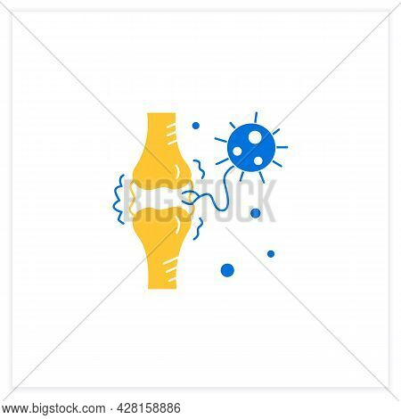Joint Pain Flat Icon. Covid Molecule Attacking Joints. Concept Of Corona Virus Disease System Health