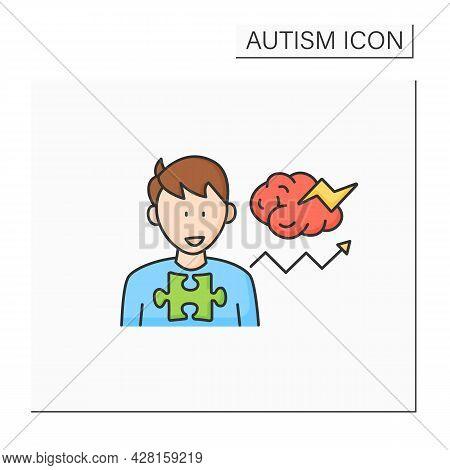 Neurodevelopmental Disorder Color Icon. Behavioral Disturbances. Restricted And Repetitive Behavior.