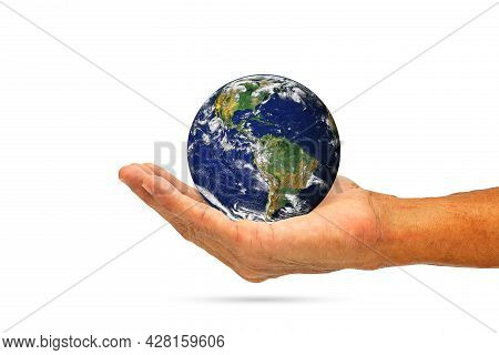 Hand Holding Planet Earth On White Background With Clipping Path, Elements Of This Image Furnished B
