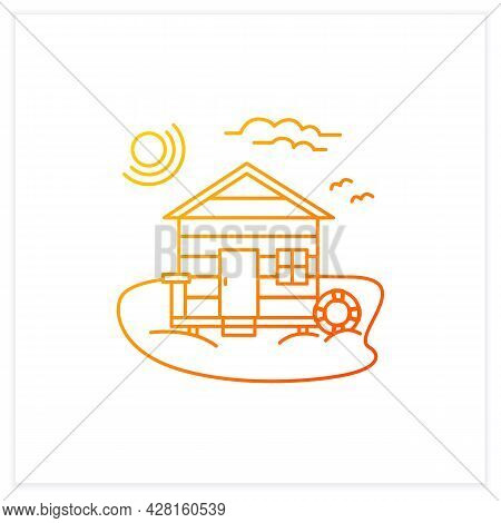 Beach Hut Gradient Icon. Wooden Comfortable House On Beach. Lifebuoy. Seascape. Rest Concept.isolate
