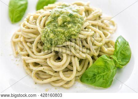 Italian Spaghetti With Pesto Alla Genovese Sauce