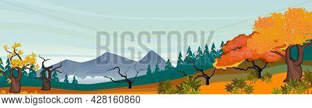 Mountain Autumn Panoramic Landscape, Sunny Bright Day - Vector Illustration