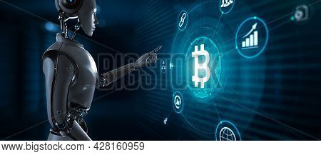 Bitcoin Cryptocurrency Btc Trading. Robot Pressing Button On Screen 3d Render