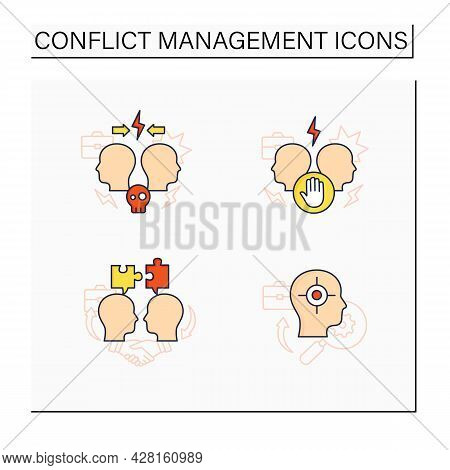 Conflict Management Color Icons Set. Dispute Resolution.compromising, Identifying Triggers, Stress M