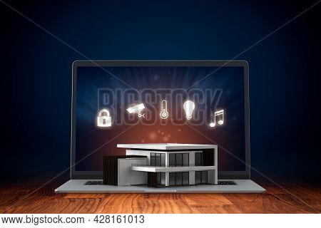 Smart Home Concept, Intelligent House, And Home Automation App Security Concept. Smart Home Software