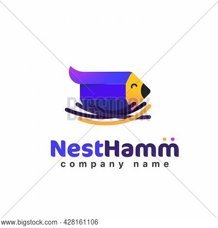 Creative Logo Bird Little Pencil In The Nest Isolated Vector Icon. Cute Chick Logotype In Straw. Car