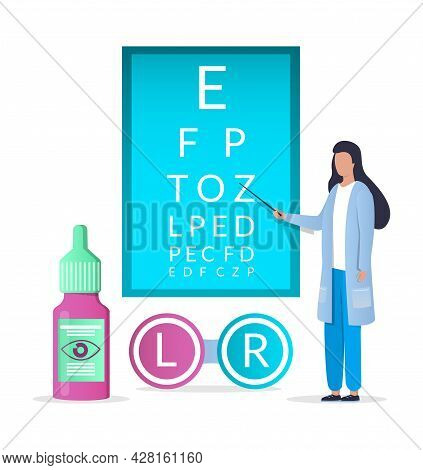 Doctor Ophthalmologist Eyesight Check Up, Contact Lenses, Vector Illustration. Vision Test And Corre