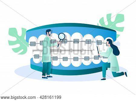 Doctor Orthodontist Examining Teeth With Braces, Vector Illustration. Dental Brackets. Orthodontics,