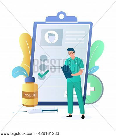 Doctor Endocrinologist With Patient Record, Syringe, Vector Illustration. Diabetes Medication, Insul