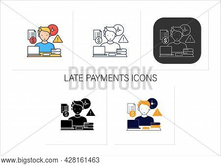 Late Payments Icons Set.invoices Not Paid On Time.non-timely Payment. Procrastination Concept.collec
