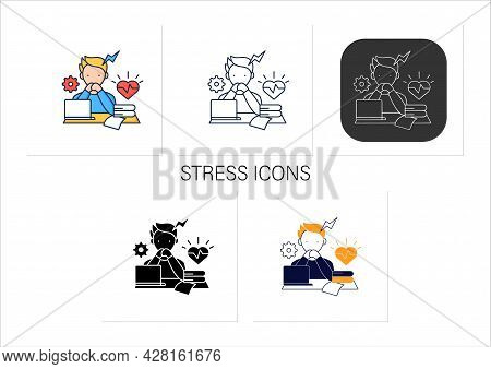 Stress Icons Set. Scared About Deadlines.stressful Situation, Work. Anxiety. Procrastination Concept