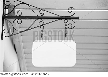 Blank Wood Label Processed In Black And White