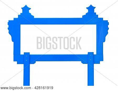 Blank Blue Wood Frame On White Background