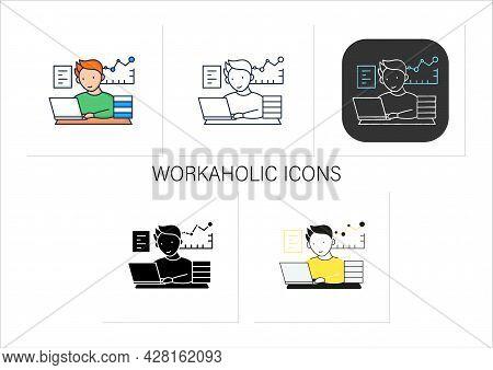 Workaholic Icons Set.prevalence Workaholism Statistics. People Number Dependent On Work. Man At Lapt