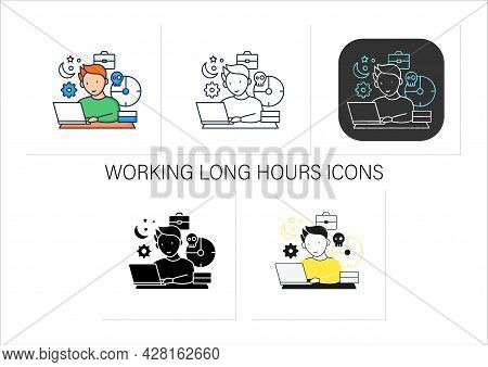 Workaholic Icons Set. Working Long Hours. Work From Morning To Night. Overworking Concept. Collectio