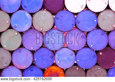 Group Of Old And Vintage Color Oil Tanks