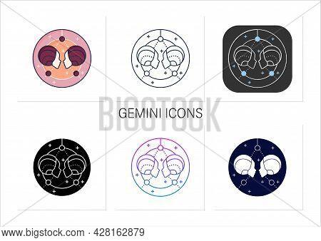 Gemini Icons Set. Third Fire Sign In Zodiac. Horoscope Twins. Mystic Horoscope Sign. Astrological Sc