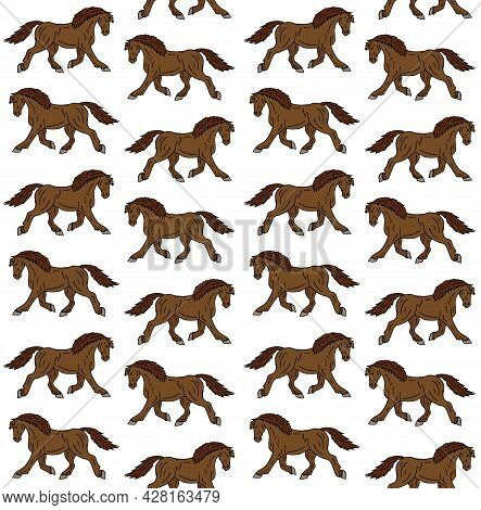 Vector Seamless Pattern Of Colored Hand Drawn Doodle Sketch Draft Horse Isolated On White Background