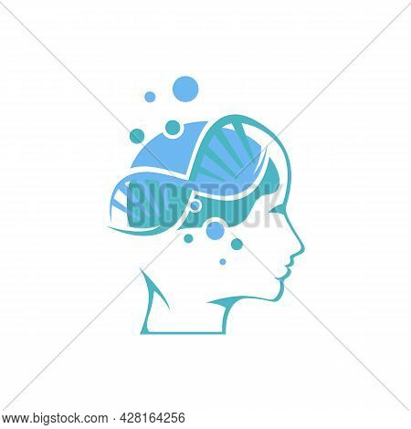 Human Cognition Brain And Dna Logo Design Vector Image. Logo For Mental And Boosting Conscious Aware