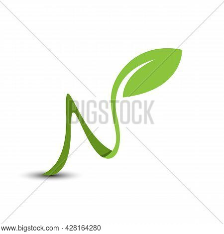 Initial Letter N Natural Leaf Environment Logo Vector Image. Green Leaf Of Modern Initials For Natur