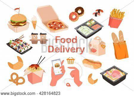 Food Delivery Lettering, Fastfood Order Menu Set, Ice Cream Coffee Pizza Noodles Hotdog