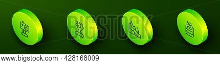 Set Isometric Line Action Camera, Award Cup, Mountain Descent And Stone For Curling Icon. Vector