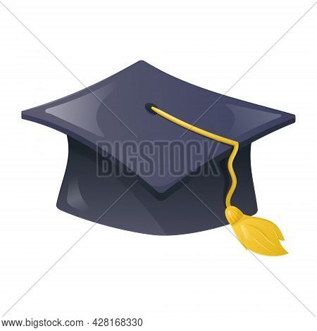 Vector Cartoon Illustration Of A Blue Rectangular Academic Cap With Tassel. Education, College Or Un