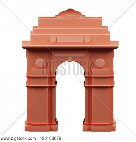 3D Render India Gate Monument On White Background.