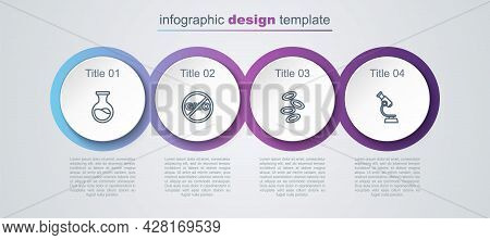 Set Line Test Tube And Flask, No Gmo, Hemoglobin And Microscope. Business Infographic Template. Vect