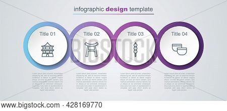 Set Line Chinese House, Japan Gate, Meatballs On Wooden Stick And Tea Ceremony. Business Infographic