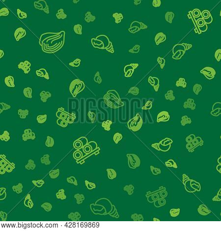 Set Line Mussel, Sushi On Cutting Board And Scallop Sea Shell On Seamless Pattern. Vector