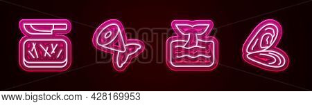 Set Line Cutting Board And Knife, Fish Tail, Whale Ocean Wave And Mussel. Glowing Neon Icon. Vector