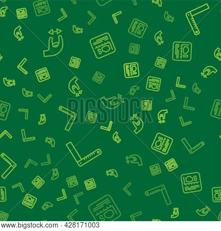 Set Line Approximate Measurements, Corner Ruler And Area On Seamless Pattern. Vector